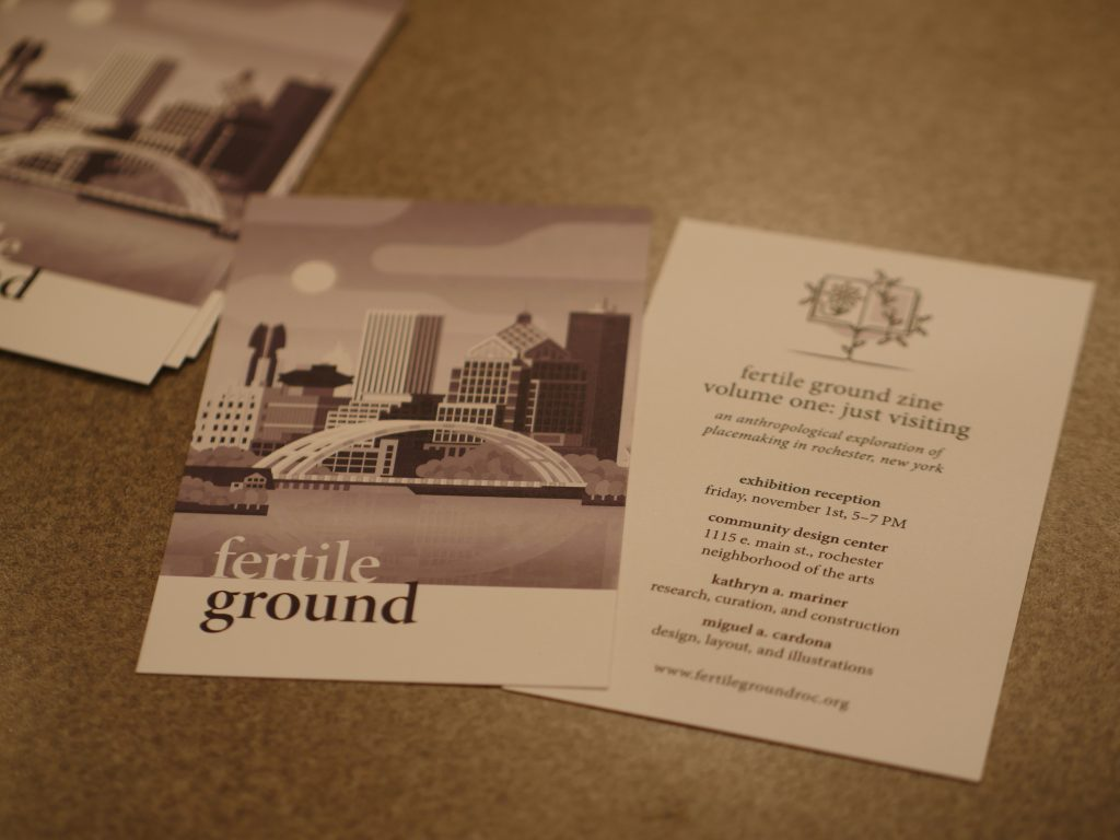 invitation cards for the november gallery reception featuring an illustration by miguel of the rochester skyline